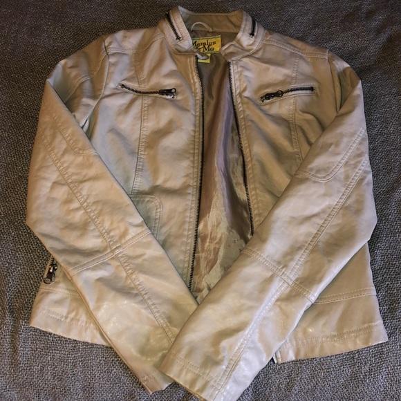 Maralyn & Me Jackets & Blazers - Tan Faux leather jacket